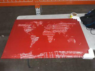 iCanvas Michael Thompsett World Map Sheet Music  Red  Canvas Print Wall Art