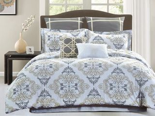 Style Quarters Suri Comforter   Gray and Taupe Damask Print   100  Cotton   Machine Washable   Queen