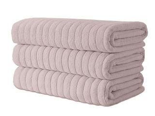 Classic Turkish Towel Cotton Ribbed Bath Sheet Towel Set of 3   40x65