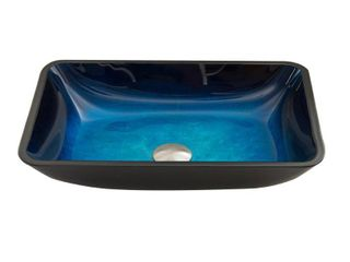 VIGO Turquoise Water Glass Rectangular Vessel Bathroom Sink  Retail 92 99