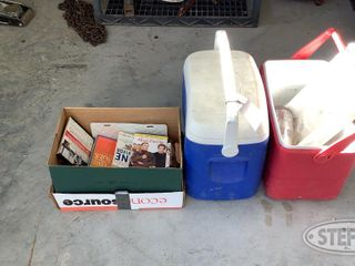 2 Coolers Box of Assorted Books DVDs 0 jpg