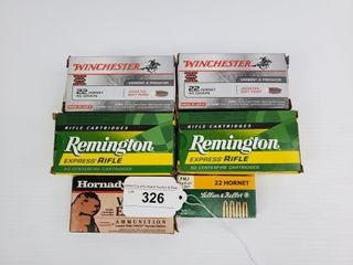 6   Boxes of Winchester   Remington  22 Hornet