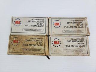 4   Boxes of  380 Auto Cartridges