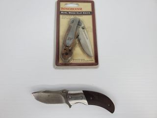 Browning   Winchester Burl Wood Clip Knife