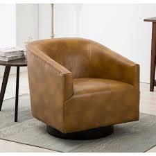 Gilbert Wood Base Swivel Chair by Greyson living  Retail 427 49 caramel