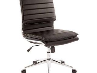 Armless Mid Back Professional Managers Faux leather Chair with Chrome Base  Retail 198 49