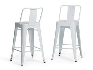 WYNDENHAll Josephine Industrial Metal 24 inch Counter Height Stool  Set of 2    16 3 W x 17 1 D x 33 3 H  Retail 123 49