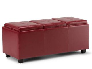 WYNDENHAll Franklin 42 inch Wide Contemporary Rectangle Storage Ottoman Faux Air leather  Retail 198 99