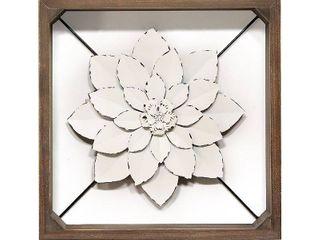 Stratton Home Decor White Framed Metal Flower