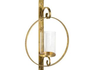 Round Glass and Metal Wall Sconce   12x22