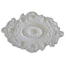 leaves Flower and Rope Embossed 30 5x20 in Ceiling Medallion   White