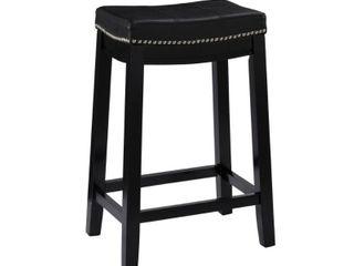 Claridge leather Saddle 26  Counter Stool Black   linon