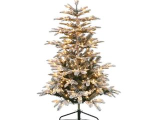 Puleo International 4 5 Prelit Flocked Fir Artificial Tree 250 lights  Retail 109 99