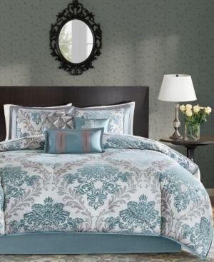 Madison Park larissa Aqua Printed 7 Piece Comforter Set  Retail 139 97