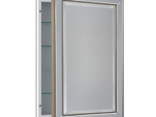 Headwest Metro Beaded Recessed Medicine Cabinet   Silver Champagne   16 x 26  Retail 174 83