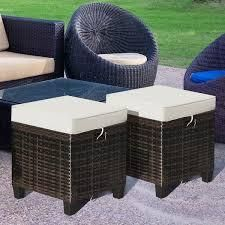 costway patiojoy Set of 2 Outdoor Patio Rattan Ottomans Cushioned Wicker Stools  Retail 128 49