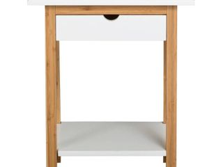 2 Tier Solid Bamboo Frame End Table