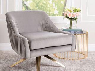 Abbyson Giana Velvet Swivel Chair  Retail 424 99