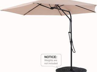 PHI VIllA 10ft Push Open Hanging Umbrella Patio Offset Outdoor Cantilever Umbrella with 6 Steel Ribs  1 65  Pole  Beige  Retail 137 49