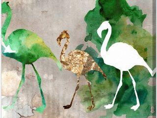 Oliver Gal  Go Flamingo Go  Animals Wall Art Canvas Print   Green  Gold  Retail 112 49