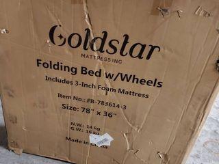 GOlDSTAR FOlDING BED W  WHEElS