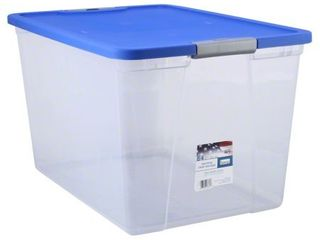 Homz 64 Quart Clear latching Storage  Blue  Set of 2