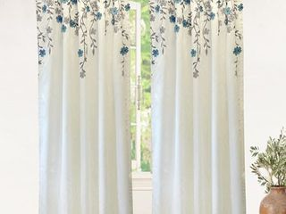 Driftaway Isabella Embroidered Room Darkening Window Curtain  Embroidered Crafted Flower  Set Of 2  50aX84 Ivory Blue