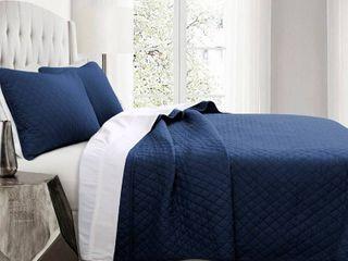 Full Queen 3pc Ava Diamond Oversized Cotton Quilt Set Navy   lush DAccor
