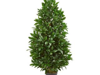 Nearly Natural 4 Ft  Bay leaf Artificial Topiary UV Resistant  Indoor Outdoor  Silk Trees  Green