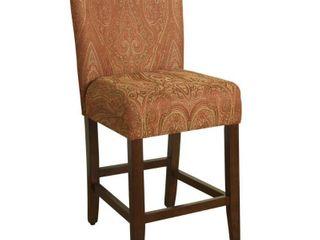 24  Damask Upholstered Counter stool Red   HomePop