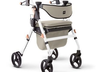 Medline Empower Rollator With Microban  Folding Rolling Walker  8  Wheels  300lb Weight Capacity  White Frame