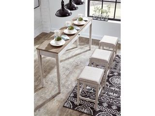 Signature Design by Ashley Skempton White light Brown Rectangular Dining Room Counter Table Set of 4
