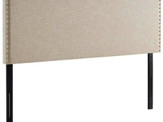 Phoebe Queen Upholstered Fabric Headboard Beige   Modway