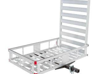 MaxxHaul 80779 Hitch Mount Aluminum Cargo Carrier With 40  Ramp   500 lb  Maximum load Capacity