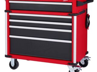 Milwaukee High Capacity 36 in  5 Drawer Roller Cabinet Tool Chest  Red