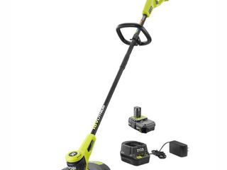 RYOBI ONE  18 Volt lithium Ion Electric Cordless String Trimmer 2 0 Ah Battery and Charger Included