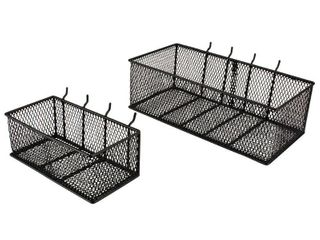 Everbilt Steel Mesh Pegboard Basket in Black 2 Pack