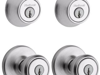 Kwikset 242 Tylo Entry Knob and Single Cylinder Deadbolt Project Pack in Satin Chrome