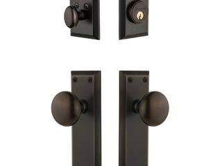Grandeur Fifth Avenue Plate 2 3 4 in  Backset Timeless Bronze Fifth Avenue Door Knob with Single Cylinder Deadbolt