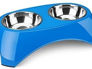 Flexzion Pet Feeder Bowls Double Stainless Steel Removable Tray Dog Cat Animal Food Water Container Dish Table Dinner Set with Elevated Stand