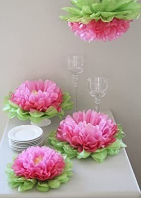 Set of 7 tissue paper flowers  4 pcs of 14in  3 pcs of 17in