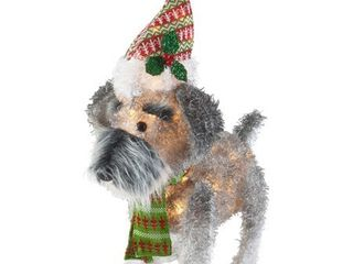Holiday Time 25 Inch light Up Fluffy Schnauzer with 35 lights  Indoor or Outdoor Use