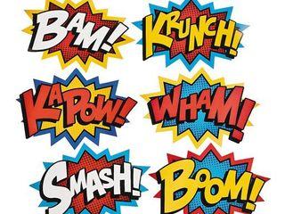Superhero Word Cutouts   6 Pieces