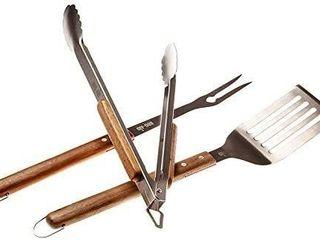 3 Piece Bbq Grilling Accessories Set   Bbq Tongs Spatula Fork Set   Heavy Duty