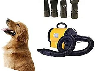 BORYlI Dog Cat Grooming Blower with Heater Adjustable Speed Pet Hair Force Dryer  108 Yellow