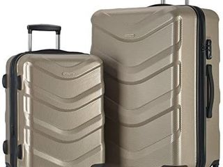 2 PC luggage Set Durable lightweight Hard Case Spinner Suitecase lUG2 RA8713 CHAMPAGNE