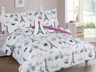 Goldenlinens Golden linens Full Size 8 Pieces Printed Comforter with sheet set Bed in Bag Multi colors White Black Pink Paris Eiffel Tower Design Girls Kids Teens   Full 8 Pc Paris