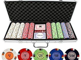 JPC 13 5g 500pc lucky Horseshoe Clay Poker Chips Set