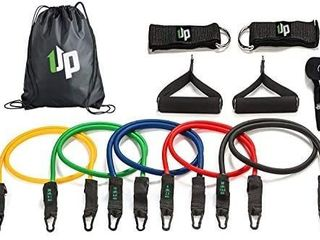 1UP Resistance Bands Exercise Set   Complete Workout Bands   11 Piece Stackable Set with Door Anchor  Foam Handles  Ankle Straps and Carrying Drawstring Bag