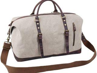 Jack Chris Oversized Canvas leather Trim Travel Tote Duffel Shoulder Handbag Weekend Bag CB1004
